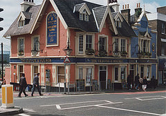 The same pub as in the previous two images, painted in pink and blue.