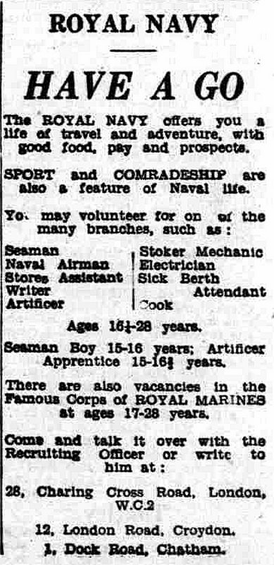 "A black-and-white text-only advertisement headed ""Royal Navy / Have A Go"" and offering ""a life of travel and adventure, with good food, pay and prospects."""