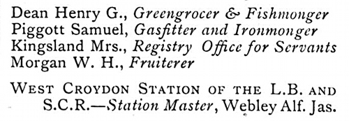 Five entries from a street directory: Henry G Dean, Samuel Piggott, Mrs Kingsland, W H Morgan, and West Croydon Station.