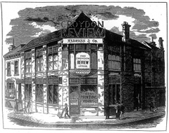 "A detailed engraving of a building on the corner of two streets. Although only two storeys, it's clear from the passers-by shown on the pavement outside that each storey is unusually tall. A corner door bears the sign ""Office"" and the window next to it carries the words ""Gas printing works"". Signs above the door read: ""Croydon Review"", ""Andress & Co"", and ""The Croydon Review Office""."