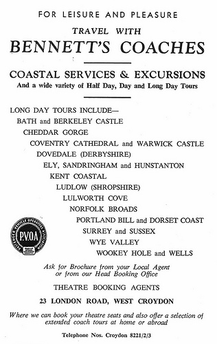 A black-and-white advertisement for Bennett's Coaches, advertising attractions as described in article below.