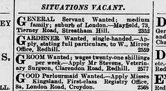 "An excerpt of a newspaper ""Situations Vacant"" small ads section, including one reading: ""Good Parlourmaid Wanted.—Apply Misses Kingsland, First-class Registry Office, 8a, London Road, Croydon."""