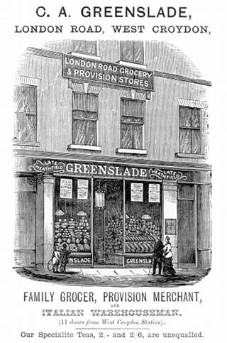 "A black-and-white advertisement with the words ""C. A. Greenslade, London Road, West Croydon,"" at the top and ""Family Grocer, Provision Merchant, and Italian Warehouseman. (11 doors from West Croydon Station). Our Specialite Teas, 2/- and 2/6, are unequalled."" at the bottom.  In between is an illustration of a single terraced shopfront with a sign on the first floor reading ""London Road Grocery & Provision Stores"" and another above the ground-floor frontage reading ""Late Heathfield – Greenslade — Late Heathfield""."