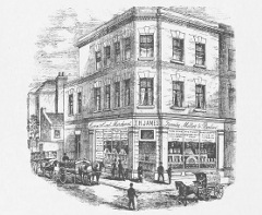 "Engraving of a three-story corner shop with the entrance on the corner and the words ""Corn & Coal Merchant / T H James / Family Miller & Baker"" on the frontage.  A few horse-drawn vehicles are shown in the street, including one with the words ""T H James / Family Miller / Croydon""."