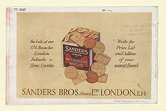 "A page from a colour catalogue showing a drawing of a square biscuit tin with circular and rectangular biscuits spilling out of it.  Wording on the biscuits reads ""NICE"", ""MARIE"", and ""THIN LUNCH"".  The biscuit tin reads ""Sanders London Assorted Biscuits"".  Writing on either side of the drawing reads ""On Sale at our 174 Branches London Suburbs & Home Counties / Write for Price List and Address of your nearest Branch"".  Writing under the drawing reads ""Sanders Bros. (Stores) Ltd., London, E.14""."
