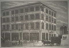 "An illustration showing a large four-story building on the corner of two streets.  The words ""C. S. Bowman's Furniture Depository / Money advanced by special contract / Complete house furnisher / Silversmith and pawnbroker"" are on the frontage.  A Bowman's-branded horse and cart is shown in the foreground."