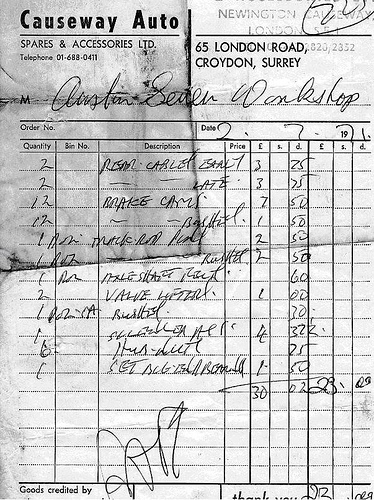 "A black-and-white scan of an invoice headed ""Causeway Auto Spares & Accessories Ltd.  65 London Road, Croydon, Surrey""."
