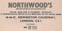 "Printed text in a variety of fonts, reading: ""Northwood's (Northwood Spares and Accessories Ltd.) Motor spare part & accessory specialists / A comprehensive service in all branches of the motor trade / 45-46-47, Newington Causeway, London, S.E.1.  Telephones HOP 2820 (Counter) 2832 (Office) 2858 (Stores)""."