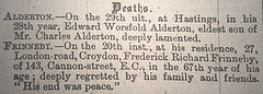 "A death notice reading: ""FRINNEBY.—On the 20th inst., at his residence, 27, London-road, Croydon, Frederick Richard Frinneby, of 143, Cannon-street, E.C., in the 67th year of his age; deeply regretted by his family and friends.  'His end was peace.'"""