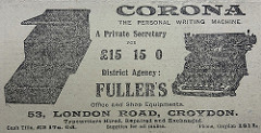 "A black-and-white newspaper advert for ""Corona the personal writing machine"", apparently a sort of typewriter, available for £15.15s.0d at ""District Agency: Fuller's Office and Shop Equipments [sic].  53, London Road, Croydon."""