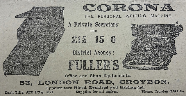 a black and white newspaper advert for corona the personal writing machine