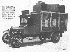 A drawing of an old-fashioned motor van with luggage piled on top.