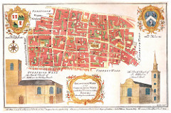 "A coloured map showing several intersecting streets and the main buildings along them.  Two coats of arms are in the top left and top right corners, and drawings of two parish churches are in the bottom two corners.  The title, within a decorative frame at the bottom, is ""Breadstreet Ward and Cordwainers Ward with their Divisions into Parishes According to a new Survey."""
