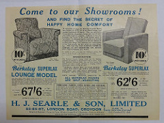 "An advertisement headed ""Come to our Showrooms! and find the secret of happy home comfort"".  Drawings of two armchairs, one upholstered in a patterned fabric and the other in plain fabric, are prominent among a wall of text giving details of the furniture and service available."