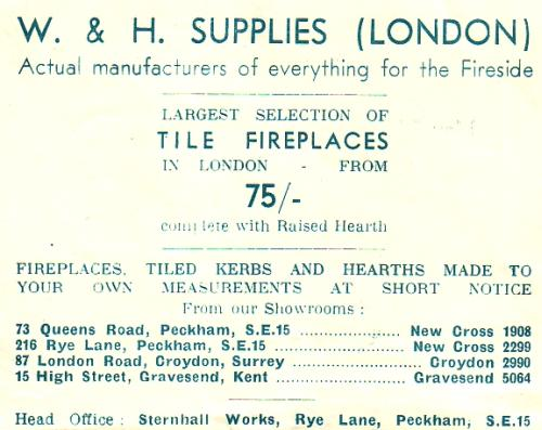 "Advertisement headed ""W & H Supplies"" and including addresses in Peckham, Croydon, and Gravesend."