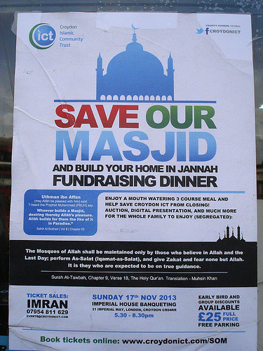 "A poster headed ""Save Our Masjid"", with the Croydon Islamic Community Trust logo in the upper left corner."