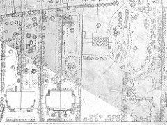 A detailed map showing three buildings with their grounds; two semi-detached pairs on the left and another building on the right of similar size but with much larger grounds.