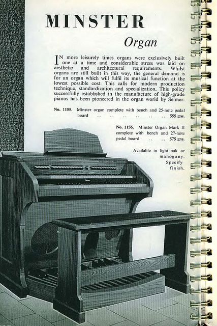 "A page from a spiral-bound book, headed ""Minser Organ"" and showing a drawing of an electronic organ (i.e. without pipes)."