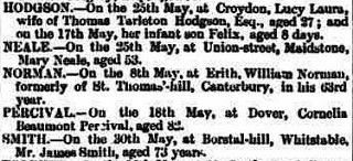 "Another newspaper excerpt including the announcement: ""HODGSON.—On the 25th May, at Croydon, Lucy Laura, wife of Thomas Tarleton Hodgson, Esq., aged 27; and on the 17th May, her infant son Felix, aged 8 days."""
