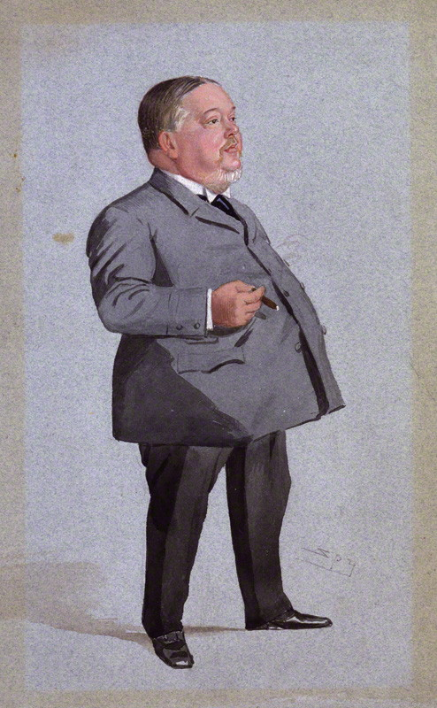 A painting of a short, fat, white man wearing a grey suit and holding a cigar.