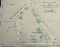 "Map headed ""Plan of Freehold Building Plots"".  A large area has been outlined with solid lines, and an area within it around a tenth of the size has been outlined with dashed lines."