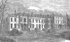 A drawing of a grand-looking three-storey wing of a building, with arched entrances along the ground floor, surrounded by trees and shrubs.