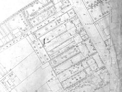 A black-and-white large-scale map excerpt showing individual houses with details of paths and plants in the gardens.