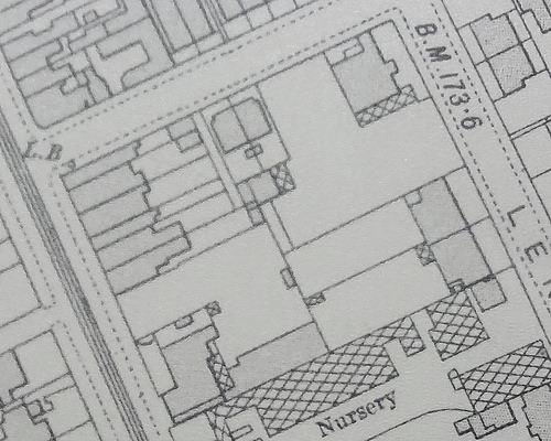Another extract showing the same area, with buildings indicated by solid shading.  A handful of new buildings have appeared since the previous one.
