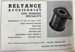 "Advert headed ""Relyance Accessories Coil Winding Specialists"".  A photo of a circular coil is on the right."