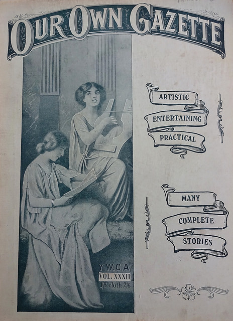 "A monochrome cover design with ""Our Own Gazette"" at the top, a drawing of two young white women (reading a magazine and playing a stringed instrument, respectively) to the left, and the words ""Artistic / Entertaining / Practical / Many / Complete / Stories"" to the right on stylised scrolls."