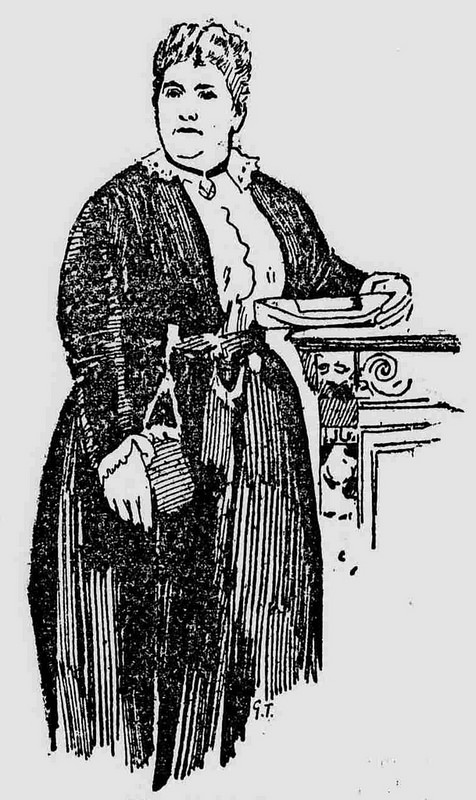 A line drawing of a tall, fat, white woman wearing a black dress with a white front and some kind of bag hanging from the waistband.  She is standing next to what looks like some sort of carved pillar or mantelpiece, and is holding something in her hand, possibly a piece of paper or an envelope.