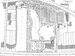 A black-and-white hand-drawn plan of a very extensive estate with formal gardens, a paddock, a meadow, and a house.  Other, more modest-looking housing surrounds the estate.