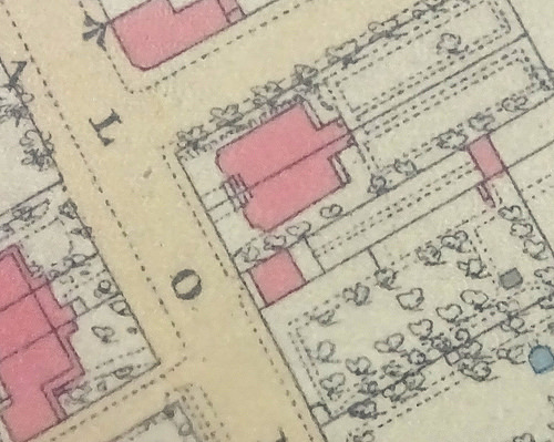 Extract from a hand-coloured map showing houses (shaded in pink) with gardens including markings indicating trees and paths, on either side of a main road with two side roads.