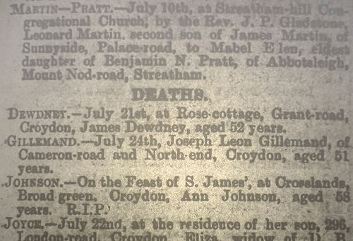 "A newspaper notice under the heading ""Deaths"", reading: ""Gillemand.—July 24th, Joseph Leon Gillemand, of Cameron-road and North-end, Croydon, aged 51 years."""