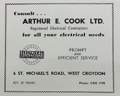 "A black-and-white advert urging the reader to ""Consult... Arthur E. Cook Ltd. / Registered Electrical Contractors / for all your electrical needs / prompt and efficient service"".  The logo of the ""Electrical Contractors Association Incorporated"" is to one side, and ""Est. 35 years"" is at the bottom."