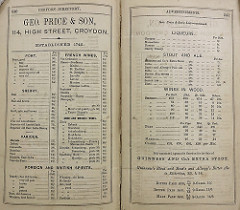"A double-page advert headed ""Geo. Price & Son, 114, High Street, Croydon"", listing prices for many types of alcohol including port, sherry, French wines, ""foreign and British"" spirits, ""stout and ale"", and ""wines in wood""."