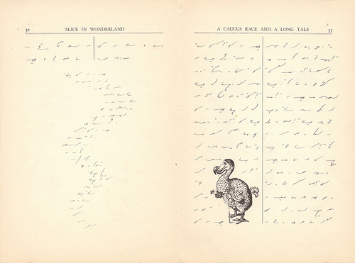 "Two pages of ""Alice in Wonderland"", written in Gregg Shorthand.  A drawing of a dodo is tucked in among the text on the right-hand page, and the text on the left-hand page winds down in a narrow, curving column."
