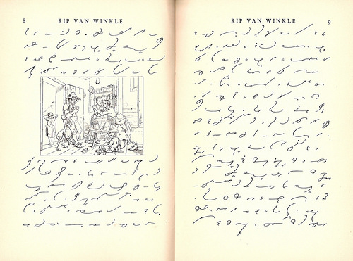 "Two pages of ""Rip van Winkle"", written in Gregg Shorthand.  The left-hand page has a drawing of five sad people inside a house."