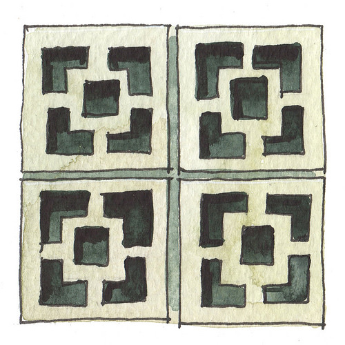 A watercolour painting of some blocky but decorative shapes in dark and light greys.