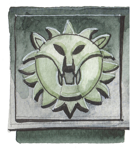 A watercolour painting in light grey and green, showing a stylised lion's head.