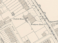 A close-up map extract showing the area between London Road on the top right and Cavendish Road on the bottom left, with details of houses and even trees.