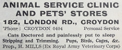 "Advert for the ""Animal Service Clinic and Pets' Stores"" at 182 London Road, stating that services include ""Cats Doctored and painlessly put to sleep / Stripping and Trimming.  Pups, Birds, Cages, &c."" and the proprietor is ""H. Mills (Ex Royal Army Veterinary Corps)""."