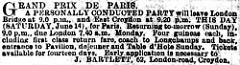 "A closely-printed text-only newspaper advert describing the abovementioned trip to the 1902 Grand Prix de Paris, with tickets available from ""J. Bartlett, 62, London-road, Croydon."""