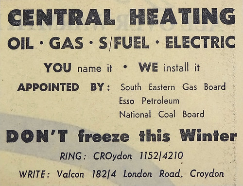 "Newspaper advert for Valcon at ""182/4 London Road"", urging readers ""DON'T freeze this Winter"" and stating that the company is ""Appointed by: South Eastern Gas Board / Esso Petroleum / National Coal Board""."