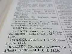 "A printed directory page with several names; at the bottom is ""BARNES, Richard Kettle, St. Albans, Herts — M.R.C.S. 1839."
