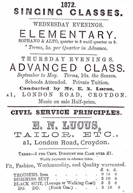 "A black-and-white text-only advert in a variety of fonts, headed ""1872"" and advertising elemetary singing lessons on Wednesday evenings, an advanced class on Thursday evenings, and trousers and suits made on ""Civil Service principles""."