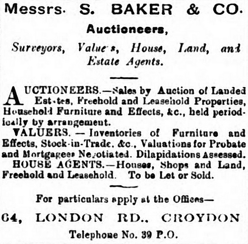 "Advert for ""Messrs. S. Baker & Co., Auctioneers, Surveyors, Valuers, House, Land, and Estate Agents""."