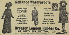 "Newspaper advert with drawings of adults and children wearing hats and long and short coats, headed ""Reliance Waterproofs all seam sewn"" and giving prices such as ""Ladies' Poplin Waterproofs, 18/6 each"".  As well as an address of 68 North End, it states ""And at London, Brighton, and Eastbourne."""