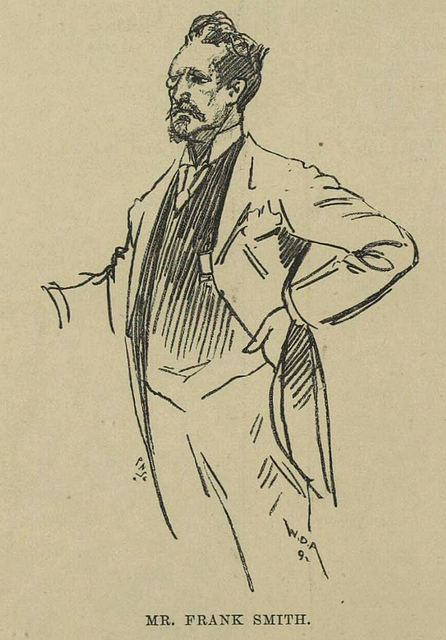 Sketch of a man standing with one hand on his hip and the other arm outstretched.  He has a quiff, a receding hairline, a goatee, and a long moustache, and is wearing a long jacket (possibly a tailcoat) and what might be a waistcoat.