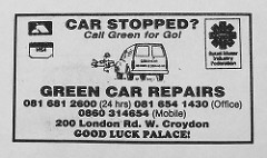 "Newspaper advert headed ""Car stopped?  Call Green for Go!"" and giving an address of 200 London Road.  The Retail Motor Industry Federation logo is in one corner, and there's a line drawing of a van pulling up near a car with its bonnet open."